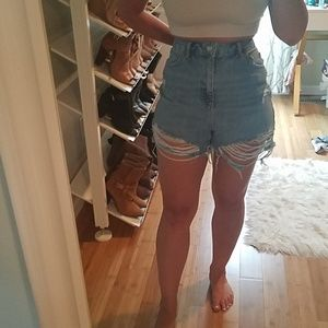 Topshop tall ripped mom shorts